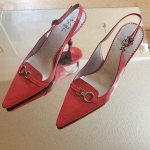 BCBG Hot Tomato sling-back, kitten heeled shoes